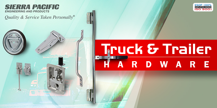 assortment of truck and trailer SPEP parts which includes a tie down, hinges, pull, door holder, and t-handle latch