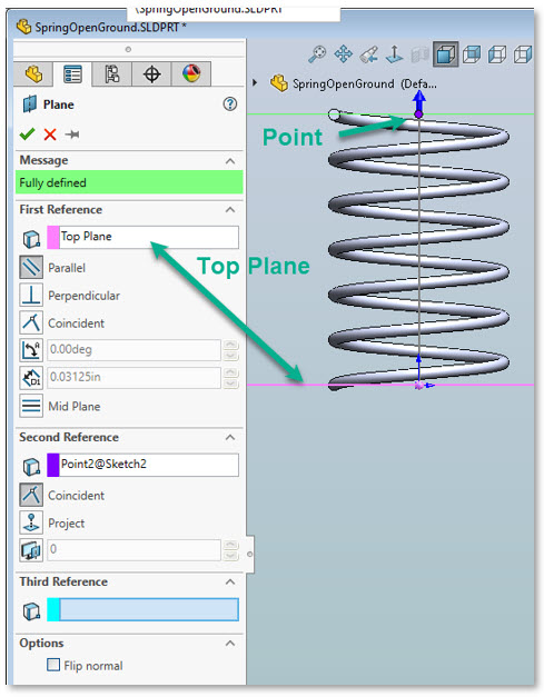 Step 4 – SolidWorks Create a Parallel Plane
