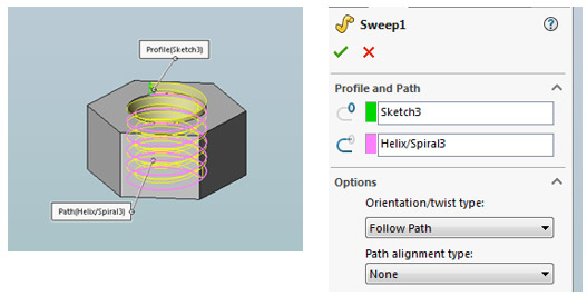 solidworks custom thread modeling step 4