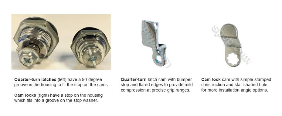 main differences between camlocks and quarter-turn latches